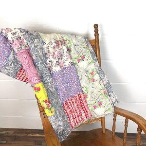 Vintage handmade quilt 80 x 42 blanket throw